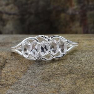Brazilian Goshenite Sterling Silver 5 Stone Ring